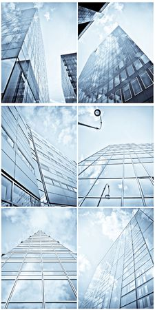 Collage and collection of blue toned modern buildings