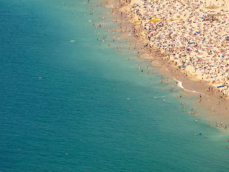 Concha bay shore  in San Sebastian Spain Stock Photo