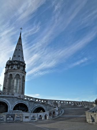 immaculate: Scenic view of the Basilica of the Immaculate Conception in Lourdes