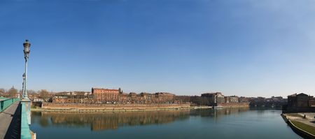 Toulouse city panoramic image from Saint Pierre bridge on the Garonne river