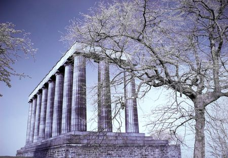 Infrared picture of the National monument on Calton hill in Edinburgh Scotland photo