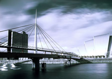 Infrared picture of the Bell bridge and Armadillo SECC on the Clyde river in Glasgow Stock Photo