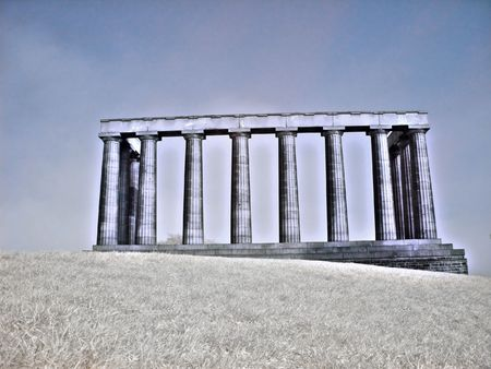 Infrared picture of national monument on Calton hill in Edinburgh Scotland photo