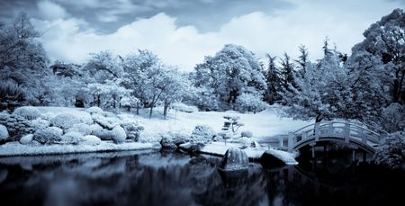 Infrared panoramic  landscape of a japanese garden with a lake and bridge selenium toned