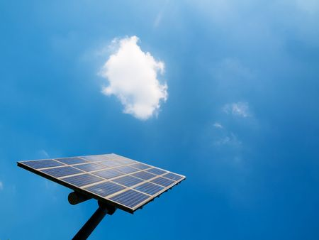 Solar panel under blue sky with clouds Stock Photo - 5132478