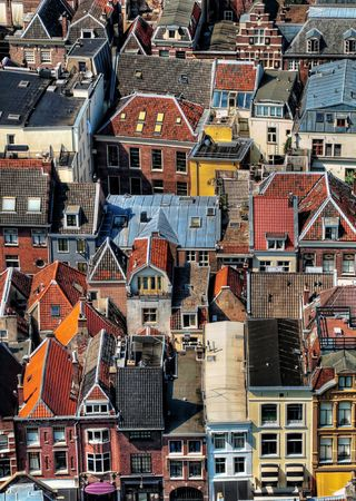 Areal view of the colorful Utrecht city in the Netherlands from the Dom tower  hdr processed