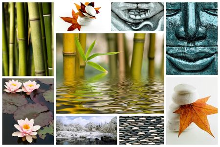 Collage of several zen picture with bamboo stone leaves and flowers photo