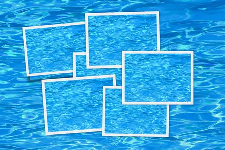 Picture frames over a blue pool background Stock Photo