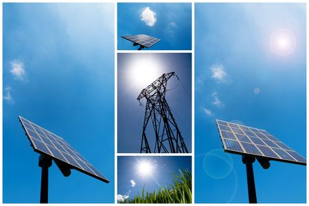 A collection of solar energy related pictures Stock Photo