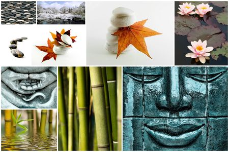 Collage of several zen picture with bamboo stone leaves and flowers Stock Photo
