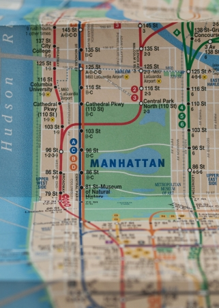 midtown manhattan: Folded New York City subway map with selective focus on central park