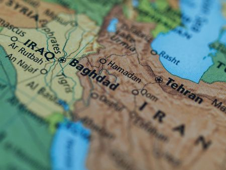 Map of Iraq Iran area with selective focus on Baghdad Iraq Stock Photo
