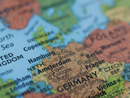 Europe map of Netherlands Germany map area with selective focus on Amsterdam photo