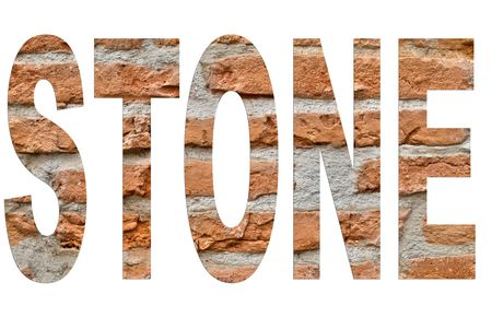 arial: Stone arial font made of a brick wall