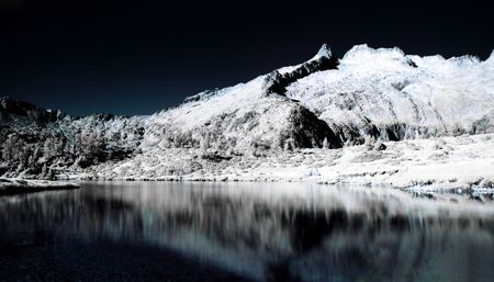 ou: Infrared picture  of the Gourget de Madamet ou gourg de Rabas in Neouvielle natural reserve