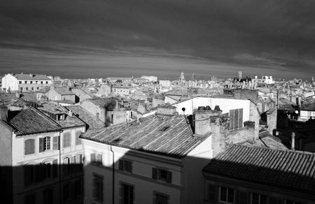 Infrared cityscape of Toulouse rooftops in the morning