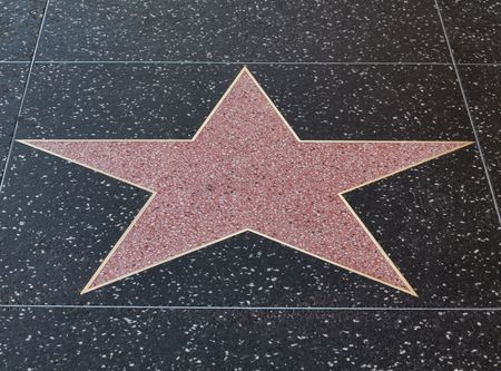 famous industries: Empty hollywood star on  the sidewalk of Hollywood boulevard  California Stock Photo