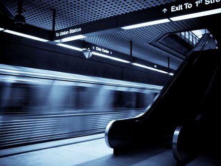 selenium: Train departing from Los Angeles metro selenium tones Stock Photo