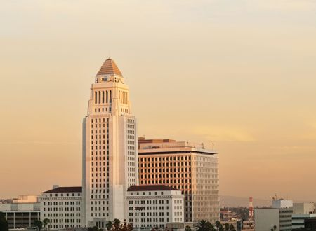 'city hall': Los Angeles California City Hall  at dusk Stock Photo