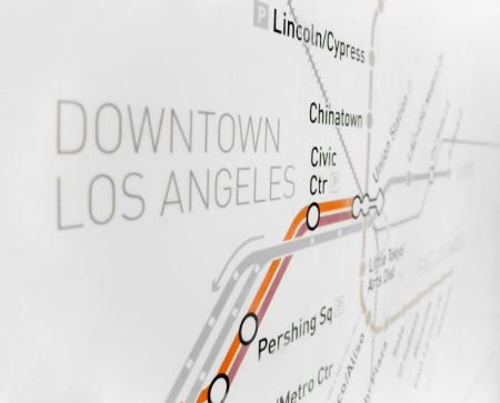 Detail of Los Angeles downtown metro system