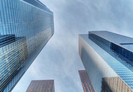 Modern skyscrapers soaring in downtown Los Angeles HDR processed Stock Photo