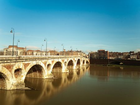 Pont neuf bridge over the garonne in the city of Toulouse in France