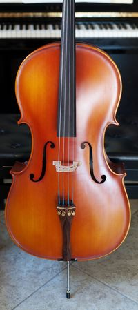 Panoramic view of a cello standing out in front of a piano Stock Photo