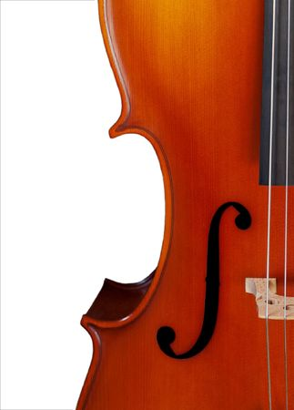 Closeup of a cello isolated on white Stock Photo