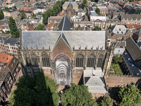 Areal view of  Utrecht city with the Dom church in the Netherlands from the Dom tower