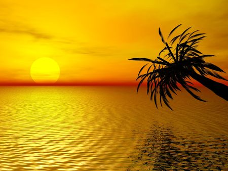 3D rendering of a beautiful sunset with a palm tree reflecting in the ocean photo