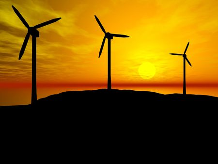 3D rendering of three wind turbines at sunset Stock Photo - 6854832