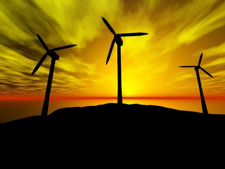 3D rendering of three wind turbines at sunset Stock Photo - 6854831