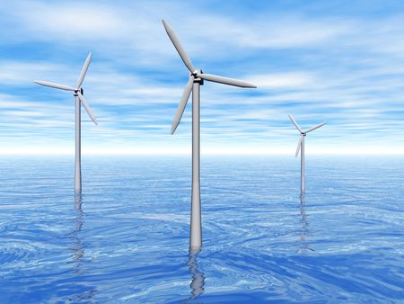 3D rendering of three wind turbines reflecting in the ocean Stock Photo - 6854835