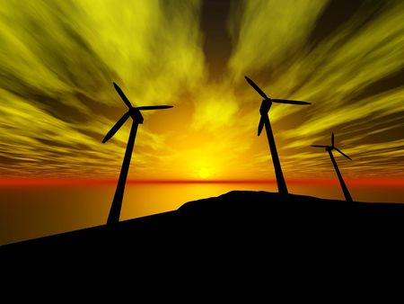 3D rendering of three wind turbines at sunset Stock Photo - 6854839