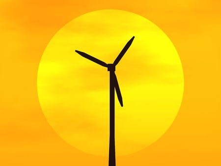 3D rendering of a wind turbine in front of the sun disc at sunset Stock Photo - 6854833