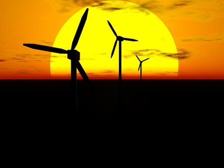 3D rendering of wind turbines in front of the sun disc at sunset Stock Photo - 6981494