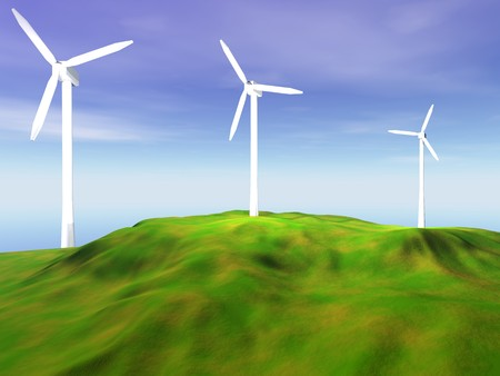 3D rendering of three wind turbines  on a hilly landscape Stock Photo - 6981512