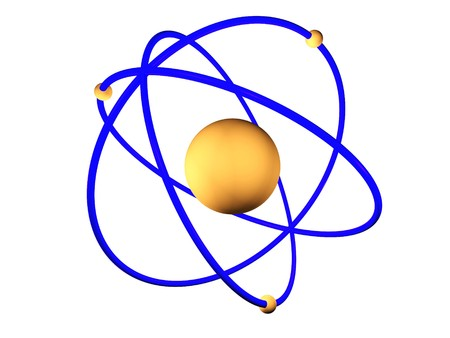 3D rendering of a atom with its electron spinning around the nucleus Stock Photo - 6981527