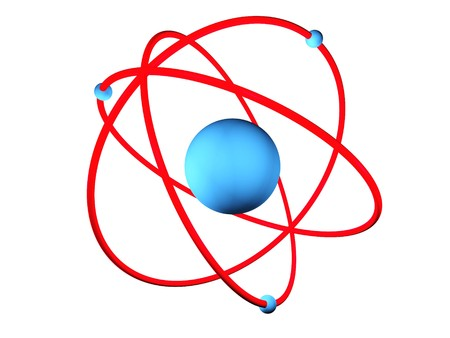 3D rendering of a atom with its electron spinning around the nucleus Stock Photo - 6981526
