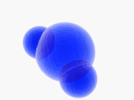 hidrogeno: Representaci�n 3D de un modelo de color azul de la mol�cula de mol�cula de agua sobre fondo blanco
