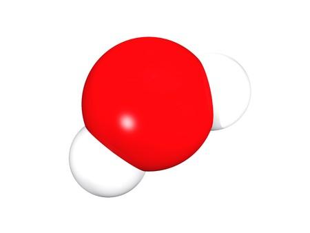 molecula de agua: Renderizaci�n 3D del modelo de la mol�cula de mol�cula de agua sobre fondo blanco