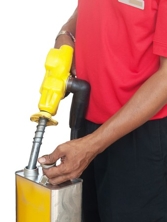 Asian man filling a gasoline container  in Malaysia isolated on white Stock Photo - 7428859