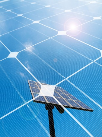 Photovoltaic panel against the sun montage Stock Photo - 7556803