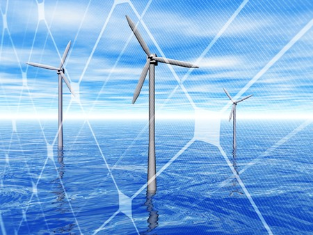 windy energy: 3D rendering of a wind turbines in the sea with solar panel
