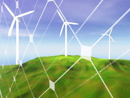 3D rendering of three wind turbines  on a hilly landscape with photovoltaic panel pattern Stock Photo - 7856235