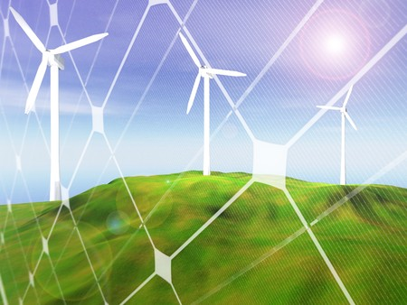 3D rendering of three wind turbines  on a hilly landscape with photovoltaic panel pattern Stock Photo - 7856233