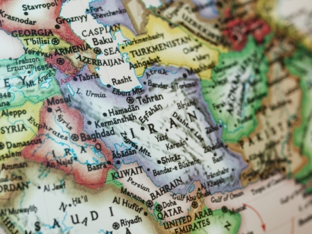 iraq: Map with Iraq and Iran with selective focusing on Iran