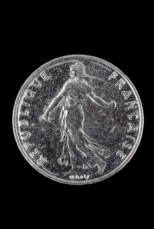 franc: Half  French Franc coin isolated on black Stock Photo
