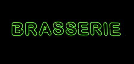 brasserie restaurant: Brasserie n�on signe Banque d'images
