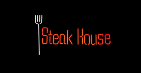 Steak house neon sign photo
